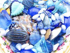 Vintage Sapphire and Aqua Blue Glass Cabochon and Rhinestone