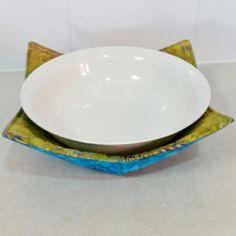 Microwave Bowl Holder (Reversable) in a Batik Fern Leaf print in Aqua Purple \u0026 Magenta on Old Gold matched with an Aqua batik fabric & Microwave Bowl Holder (Reversable) in an Aboriginal design called ...
