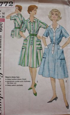 1960s One Piece Dress sewing pattern. Bodice has tucks at waistline and front shoulder. Dress has short sleeves with a set-in upper section, front button closing, slightly flared skirt and pockets.  Simplicity 3772 size: 16 Bust 36 Waist 28 Hip 38  Uncut and complete with instructions. Factory Folded. Envelope has slight amount of discoloration on it.  To view more patterns from this shop please visit: https://www.etsy.com/shop/BluetreeSewingStudio  To learn how to change ...