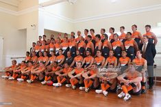 The Giants pose during the Greater Western Sydney Giants AFL Team Photo Session at Village Green on February 9, 2012 in Sydney, Australia.