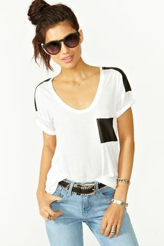 Nasty Gal Biker Pocket Tee - You could probably DIY this...