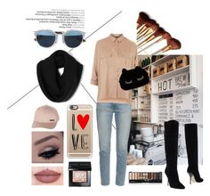 """""""Cozy me"""" by aninda93 on Polyvore featuring Frame Denim, Topshop, Christian Dior, WithChic, Jimmy Choo, Casetify, Billabong, Bobbi Brown Cosmetics, women's clothing and women's fashion"""