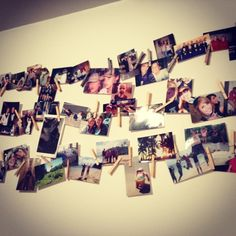 Picture time line. Ran string across and attached with command strips and picture hooks. Then used clothes pins to hang the pictures starting youngest to most recent. Dorm Life, College Life, Command Strips, Dorm Ideas, Clothes Line, Hooks, Photographs, Photo Wall, House Ideas