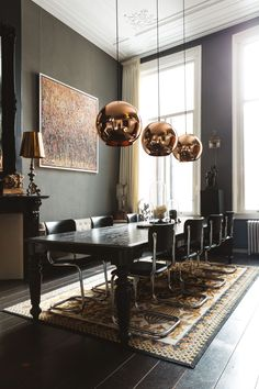 e ideas for: dining room chandelier dining room design modern dining room design luxury contemporary dining r Dining Room Lamps, Family Dining Rooms, Luxury Dining Room, Dining Room Design, Dining Room Furniture, Dining Tables, Table Lamps, Copper Dining Room, Living Rooms