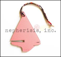 Hermes petih h leather ornament. Voilier or Yacht design in Rose Confetti. New condition with Hermes box and ribbon.