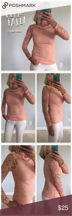"""Peach Lace Top Peach Lace Top. Gorgeous and feminine can be worn alone or under a jacket or with a vest. Lined bodice. Long,sleeves. Measurements laying flat: S: 25"""" long, 15"""" pit to pit. M: 26"""" long, 16"""" pit to pit. L: 26"""" long, 17"""" pit to pit. I am modeling size Small. 92 nylon 8 spandex. 100% polyester lining. New Boutique item, without tags. #BB2 Tops"""