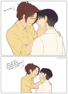 Rivaille (Levi) x Zoe Hanji I don't ship this but LOL Hanji, great way to ruin the moment.