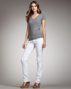 Straight-Leg Clean White Jeans by 7 For All Mankind at Neiman Marcus.
