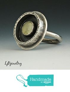 Silver Statement Ring, Prehnite Ring, Metalsmith Ring, Handmade Ring, Oxidized, Patina, Sterling Silver, Gemstone http://www.amazon.com/dp/B016Y7L02O/ref=hnd_sw_r_pi_dp_TG3jwb18T3890 #handmadeatamazon