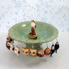 Ceramic Earring stand and ring holder with kookaburra