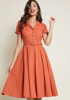 Collectif x MC Cherished Era Shirt Dress in Orange in 20 (UK) - Short Sleeve Midi by Collectif from ModCloth 1950s Fashion Dresses, Vintage Dresses, 1950s Style Dresses, Dress Outfits, Casual Dresses, Fashion Outfits, Dress Fashion, Dress Ootd, Emo Outfits
