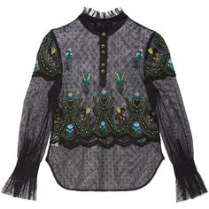 Gianna Blouse (€460) ❤ liked on Polyvore featuring tops, blouses, embroidered blouse, embroidered top and embroidery blouses