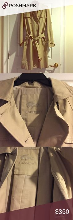 """Lacoste tan double breasted trench coat, 8/EU 40 Excellent condition, only worn once.  Length is 40"""" from shoulder to bottom hem.  Pockets, belt, tan buttons Lacoste Jackets & Coats Trench Coats"""