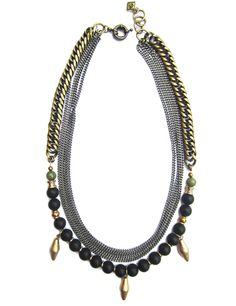 Inject a dose of elegant edge to any ensemble with the Azalia necklace. Polished off by black obsidian and dyed jade beads, this multi-chain necklace makes a. Jade Beads, Antique Brass, Personal Style, Beaded Necklace, Chain, Elegant, Summer 2015, How To Make, Prince