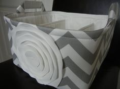 """Diaper Caddy(choose ROSE color)11""""x10""""x7"""" Two Dividers-Fabric Organizer Bin-""""White Rose on Grey/White Zigzag"""" - $55"""