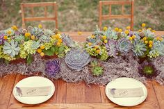 I would use this type of centerpiece if inable to use the ceramic pots .Very pretty I want  to add yellow sunflowers and purply colored vegies in it.