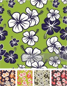 Hawaian sufer hibiscus seamless pattern with five color variations.