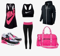 Workout outfit gym clothes summer workout outfits, workout a Workout Outfits For Women, Summer Workout Outfits, Fitness Outfits, Workout Attire, Workout Wear, Fitness Fashion, Summer Outfits, Nike Workout Gear, Fitness Shirts