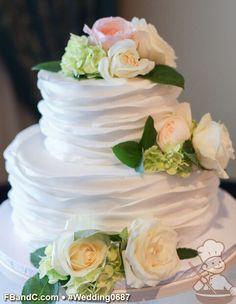 "Design W 0687 | Fondant Wedding Cake | 10""+6"" | Serves 50 | Fondant Ruffle Cover, Fresh Flowers | Custom Quote"