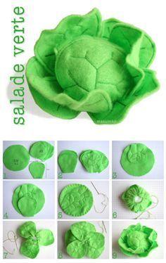 Salat aus Filz für die Kinderküche #Filz #Nähen #Kinderküche: