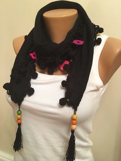 A personal favorite from my Etsy shop https://www.etsy.com/listing/257553563/black-flower-crochet-scarfblack-hand