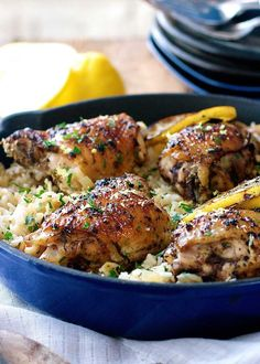 This Greek Chicken Recipe is made with an incredible lemon rice which is all made in ONE POT!