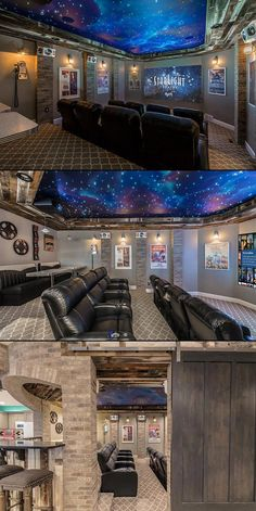 The starlight theatre! home theater of the year consumer technology association, ces 2017 home Movie Theater Rooms, Home Cinema Room, Theater Room Decor, Movie Theater Basement, Home Theatre Rooms, Basement Game Rooms, Luxury Movie Theater, Cool Basement Ideas, Cinema Theater