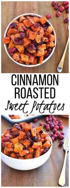 Cinnamon roasted sweet potatoes and cranberries! Vegan Gluten Free and Paleo!