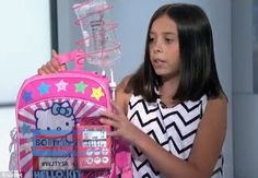 Cancer survivor Kylie Simonds, 11 has invented an IV backpack that makes it easier and less scary for kids to be hooked up to the IV during chemo