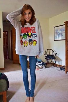 too thin for me but love the imagery of being able to wear a baggy marvel sweater and skinnies