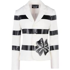 Boutique Moschino Blazer ($220) ❤ liked on Polyvore featuring outerwear, jackets, blazers, white, patterned blazer, long sleeve jacket, floral-print blazers, white jacket and long sleeve blazer