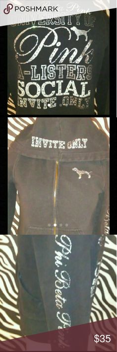 VS PINK HOODED ZIP UP JACKET Rare VS Pink . A- Listers Invite Only. Faded Vintage Look. Missing Hood String.  All Rhinestones are present. Trustee Of Pink. Women's Size Small PINK Victoria's Secret Jackets & Coats