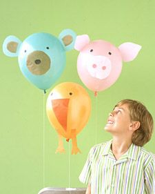 Make these adorable bear, chick, and pig decorations using helium-filled balloons. Cut features and legs out of tissue paper, which won't weigh down balloons; cut ears out of a lightweight paper that won't flop, such as vellum. Affix with double-sided tape (ears should have tabs).