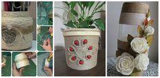 Elképesztő milyen csodás dolgokat készíthetsz egy kis spárgából, ha van egy kis türelmed! Burlap Crafts, Ribbon Crafts, Diy And Crafts, Recycled Wine Bottles, Wine Bottle Crafts, Design Crafts, Celtic, Decoupage, Planter Pots
