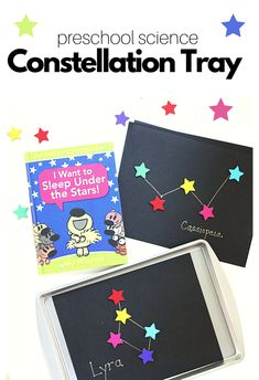 #ad Preschool Classroom Constellation Tray. Inspired by Mo Willems' Unlimited Squirrels: I Want To Sleep Under The Stars, this constellation tray introduces preschoolers to the patterns in the sky. Simple science for preschool and a great new read from Disney Book Group! Get the tutorial and an #UnlimitedSquirrels lesson plan to go with it! Preschool Craft Activities, Preschool Art Projects, Preschool Lesson Plans, Motor Activities, Preschool Activities, Science Experiments Kids, Science For Kids, Homeschool Kindergarten, Preschool Classroom