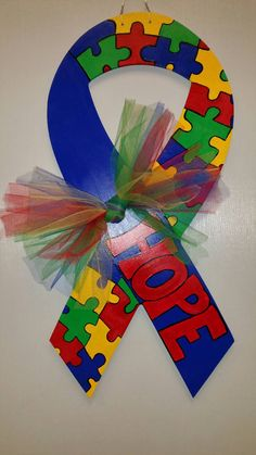 Autism Awareness Wooden Door Hanger by TheOnePerfectPiece on Etsy