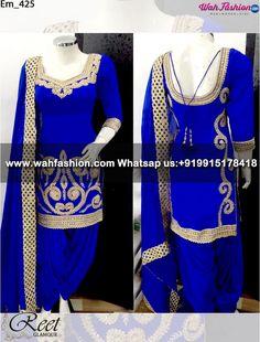 Exquisite Royal Blue Embroidered Punjabi Suit