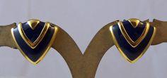 Vintage Navy Blue Enamel Gold Tone Scalloped Chevron Design Clip on Earrings   eBay