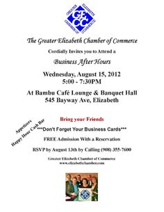 Greater Elizabeth Chamber of Commerce Business After Hours at Bambu Café Lounge August 15