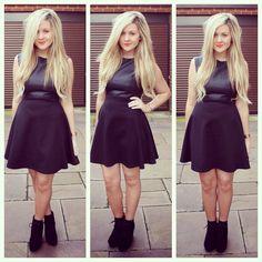 Little black leather skater dress