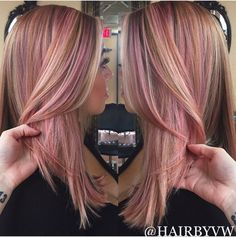 Rose gold highlights on blonde hair with a lob haircut