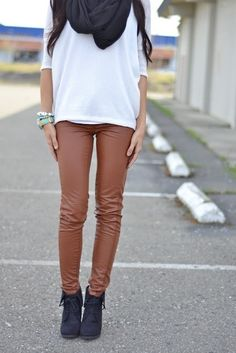 Brown leather leggins look