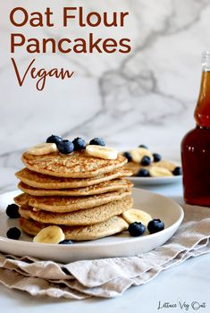Learn how to easily make homemade, fluffy vegan oat pancakes with no banana in them (although you can certainly top with banana if you like). This vegan recipe is gluten free as the main ingredient is oat flour! Full cooking video in the recipe card so you can easily create this vegan breakfast recipe. #Vegan #VeganRecipe #VeganBreakfast #GlutenFree #GlutenFreeRecipe #DairyFree #DairyFreeRecipe #EggFree #Eggless #PlantBased #PancakeRecipe #OatFlour #EggFreeRecipe #DairyFreeBreakfast Vegan Baked Oatmeal, Vegan Oatmeal Cookies, Vegan Overnight Oats, Baked Oatmeal Recipes, Vegan Protein Pancakes, Vegan Pancake Recipes, Vegan Recipes, Oat Flour Pancakes, Oatmeal Pancakes