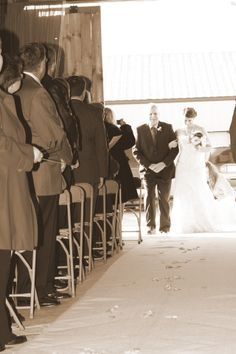 bride and father down the aisle photo, country barn wedding