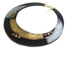 Leather bib necklace Statement necklace with pearls by julishland, $25.00