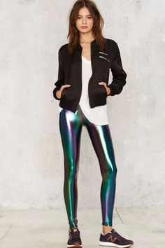 Look effortlessly glam with this Nasty Gal Trip and Slide Hologram Leggings. Crop Top And Leggings, Cheap Leggings, Shiny Leggings, Women's Leggings, Colorful Leggings, Printed Leggings, Tights, Legging Outfits, Leggings Fashion