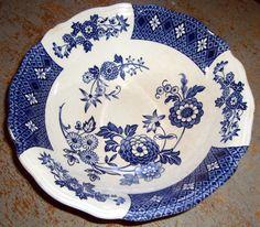Vintage Bowl Blue & White Floral Royal by TheBackShak on Etsy