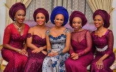 Maroon, Silver and blue laced gown- Group Asoebi