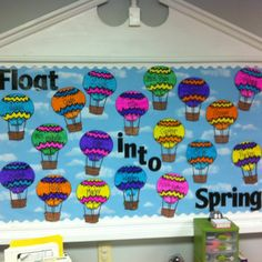 Hot air balloons make for a colorful and bright spring bulletin board display and theme. This is going to be my bulletin board this year! Spring Bulletin Boards, Preschool Bulletin Boards, Bulletin Board Display, Classroom Bulletin Boards, Bullentin Boards, Classroom Ideas, Classroom Door, Classroom Design, Spring Projects