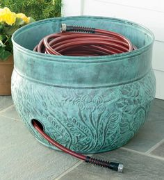 You Need Gardening Insurance For Anyone Who Is A Managing A Gardening Organization 150 Ft. Stirred Steel Hose Pot Storage Container Plow and Hearth Traditional Outdoor Decor, Plastic Pots, Paint Plastic, Dream Garden, Lawn And Garden, Garden Projects, Outdoor Spaces, Outdoor Fun, Outdoor Ideas